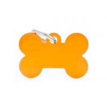 MY FAMILY - Basic Alluminio - Osso Grande Arancione - Medaglietta incisibile