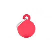 MY FAMILY - Basic Alluminio - Cerchio Piccolo Rosso - Medaglietta incisibile