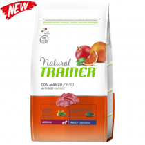 Trainer natural adult medium manzo, riso e ginseng 12 Kg (ex formato 12,5 Kg)