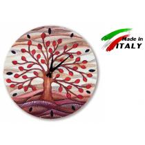 Cartapietra orologio albero della vita rosso in basso rilievo diametro 40cm