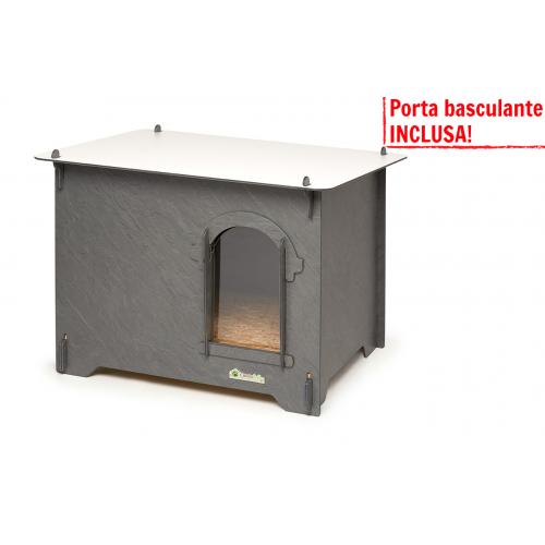 Cuccia HPL Cucciolotta Colonial L grigio pietra porta basculante INCLUSA