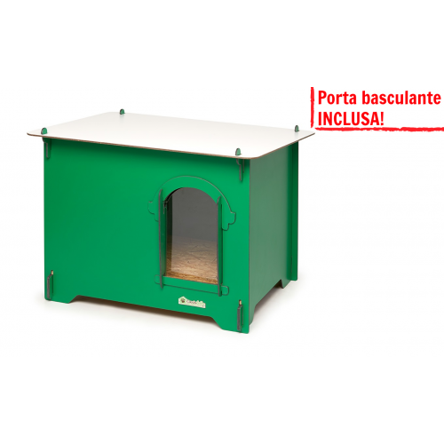 Cuccia HPL Cucciolotta Colonial S verde porta basculante INCLUSA!
