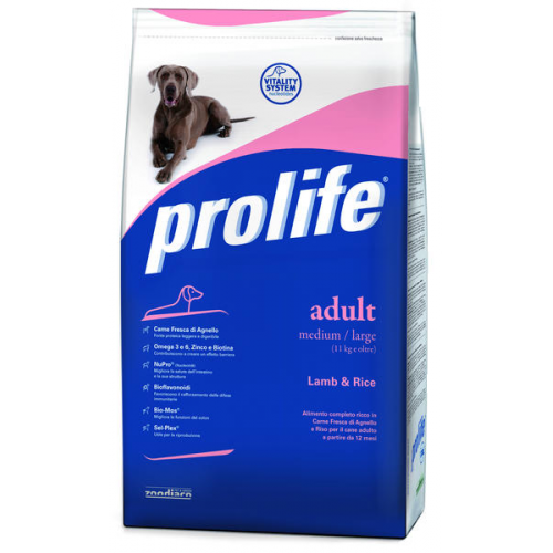Crocchette per cani Prolife adult medium agnello e riso 12 Kg