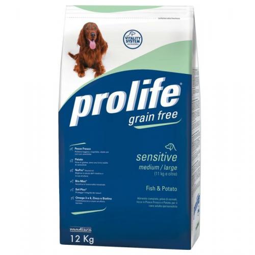 Crocchette per cani Prolife sensitive pesce e patate 12 Kg