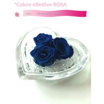 Cuore in vetro con 3 rose vere stabilizzate effetto acqua 8x8 cm colore blu