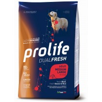 Crocchette per cani Prolife dual fresh manzo, oca e riso adult medium large nutrigenomic 12 Kg