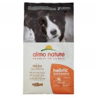 Crocchette per cani Almo nature holistic adult medium salmone e riso 12 kg
