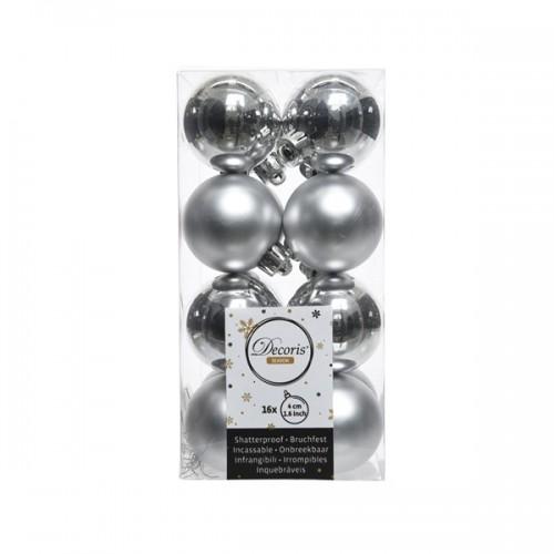 Palline di Natale Kaemingk 16 plain baubles argento