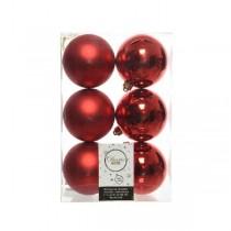Palline di Natale Kaemingk 6 plain baubles rosso Natale
