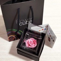 Rosa vera stabilizzata FlowerCube cubo 8x8 cm rosa