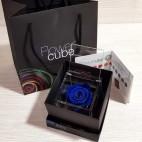 Rosa vera stabilizzata FlowerCube cubo 8x8 cm blu