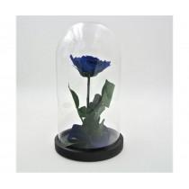Rosa incantata stabilizzata Flowercube con base in legno altezza 30 cm blu