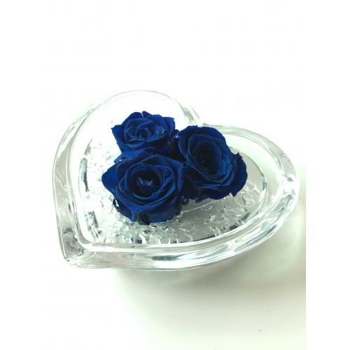 Cuore di rosa, 3 rose stabilizzate in cuore di vetro 8x8 cm  blu