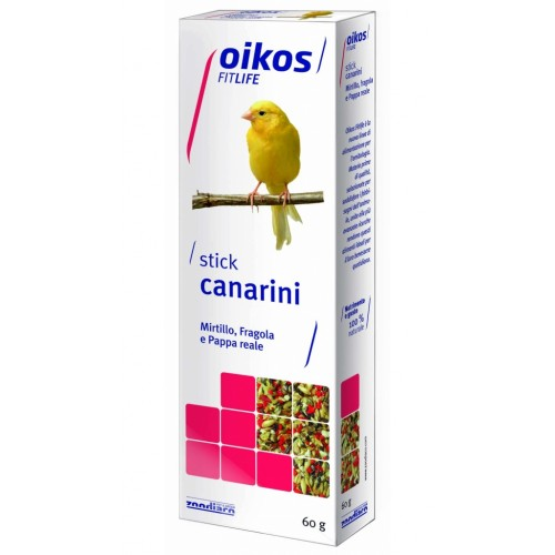 Oikos Fitlife stick mirtillo, fragola e pappa reale per canarini 60 g