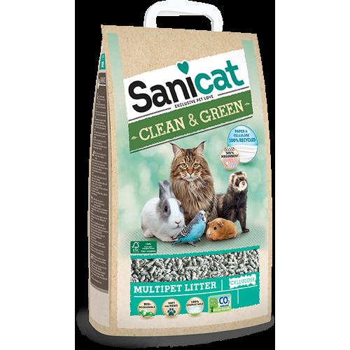 Lettiera gatto Sanicat Clean&Green in cellulosa 20 L