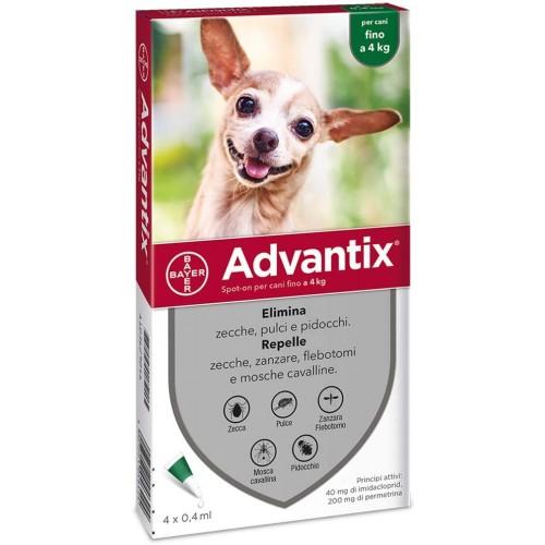 Advantix Bayer antiparassitario per cani spot-on da 0 a 4 kg 4 pipette