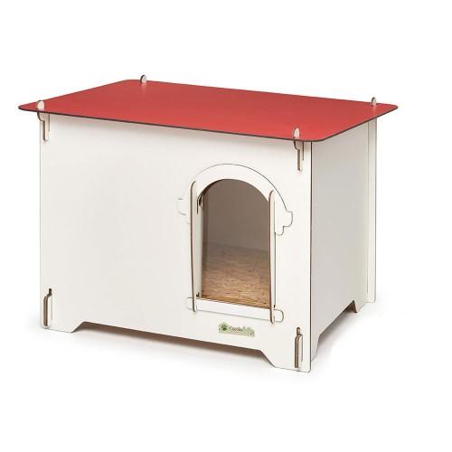 Cuccia per cani in HPL Cucciolotta Colonial M rossa da esterno