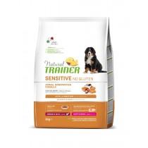 Crocchette per cani Trainer sensitive no gluten puppy Medium&Maxi Puppy&Junior salmone 12 Kg