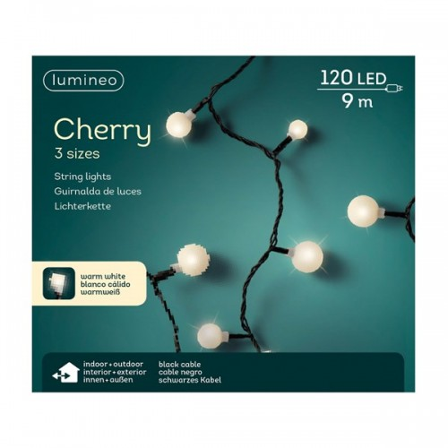Luci di Natale Kaemingk 120 LED bianco caldo cherry 3 sizes 9 m