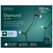 Luci di Natale Kaemingk 200 LED bianco fredo diamond twinkle 20 m