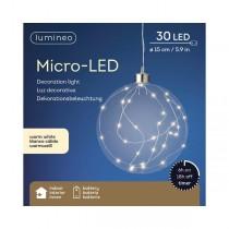 Palla di Natale Kaemingk 30 micro LED bianco caldo glass ball ø 15 cm