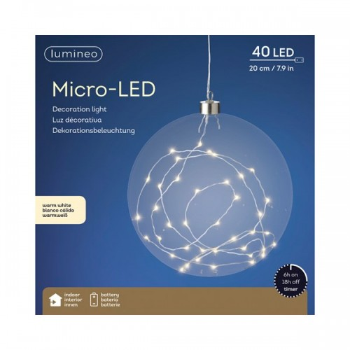 Palla di Natale Kaemingk 40 micro LED bianco caldo glass ball ø 20 cm