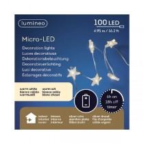 Luci di Natale Kaemingk 100 micro LED a stella 4.95 m