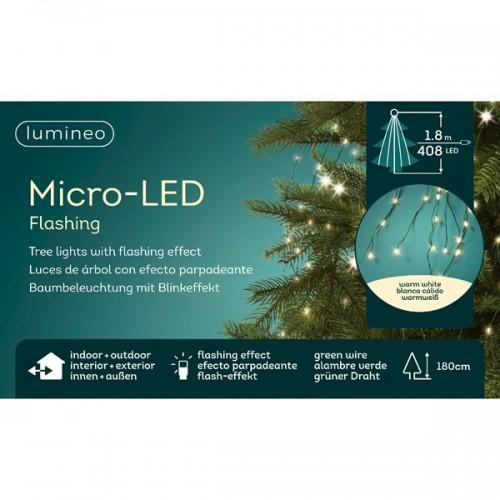 Luci di Natale a cascata Kaemingk 408 micro LED bianco caldo 1.8 m