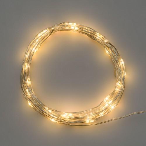 Luci di Natale Lotti 20 micro LED bianco caldo 1.9 m cavo argento