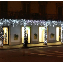 Tenda luci di Natale Lotti 114 maxi LED bianco freddo 3 m cavo bianco