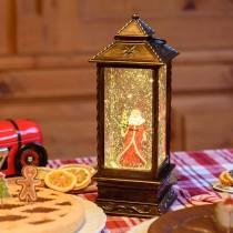 Lanterna di Natale Lotti rettangolare con glitter e LED bianco caldo