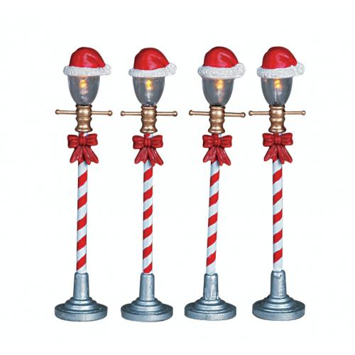 Lemax villaggio di Natale lampioni di Santa Claus 4 pezzi