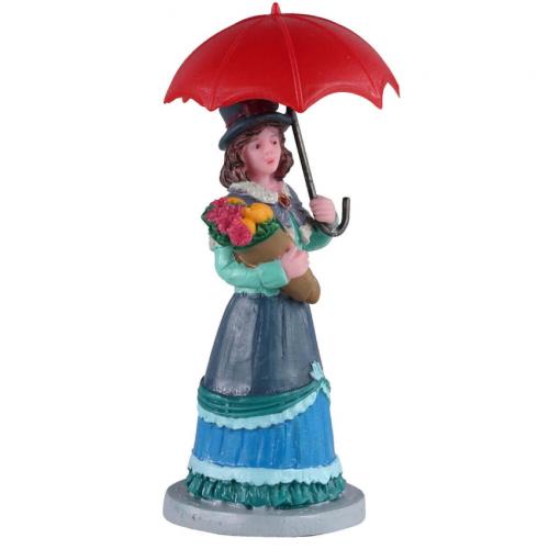 Lemax villaggio donna con ombrello