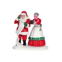 Lemax villaggio di Natale Babbo e mamma Natale con cioccolata