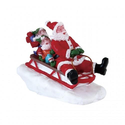 Lemax villaggio di Natale sullo slittino con Babbo Natale