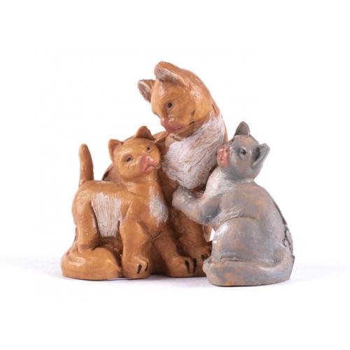 Animali presepe famiglia di gatti 12 cm Fontanini