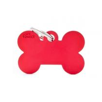 MY FAMILY - Basic Alluminio - Osso Grande Rosso - Medaglietta incisibile