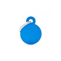 MY FAMILY - Basic Alluminio - Cerchio Piccolo Azzurro - Medaglietta incisibile