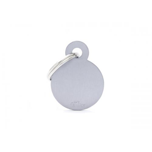 MY FAMILY - Basic Alluminio - Cerchio Piccolo Grigio - Medaglietta incisibile