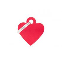 MY FAMILY - Basic Alluminio - Cuore Piccolo Rosso - Medaglietta incisibile