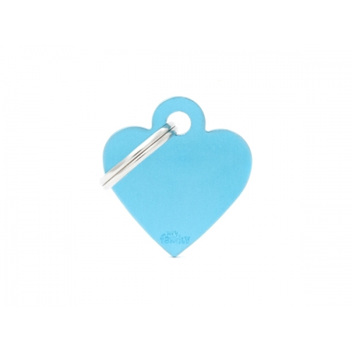 MY FAMILY - Basic Alluminio - Cuore Piccolo Azzurro - Medaglietta incisibile