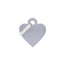 MY FAMILY - Basic Alluminio - Cuore Piccolo Grigio - Medaglietta incisibile