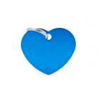 MY FAMILY - Basic Alluminio - Cuore Grande Blu - Medaglietta incisibile