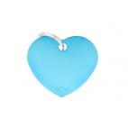 MY FAMILY - Basic Alluminio - Cuore Grande Azzurro - Medaglietta incisibile