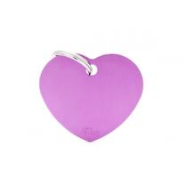 MY FAMILY - Basic Alluminio - Cuore Grande Viola - Medaglietta incisibile