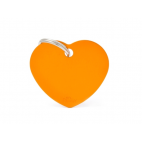 MY FAMILY - Basic Alluminio - Cuore Grande Arancione - Medaglietta incisibile