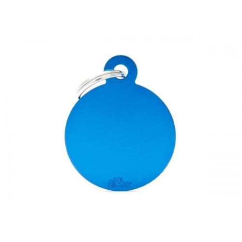MY FAMILY - Basic Alluminio - Cerchio Grande Blu - Medaglietta incisibile