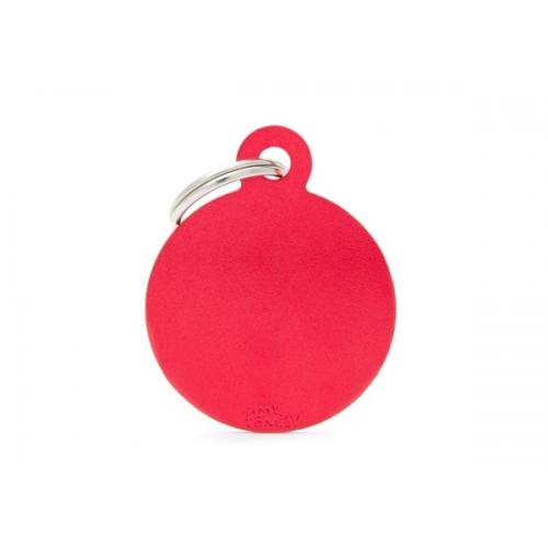MY FAMILY - Basic Alluminio - Cerchio Grande Rosso - Medaglietta incisibile
