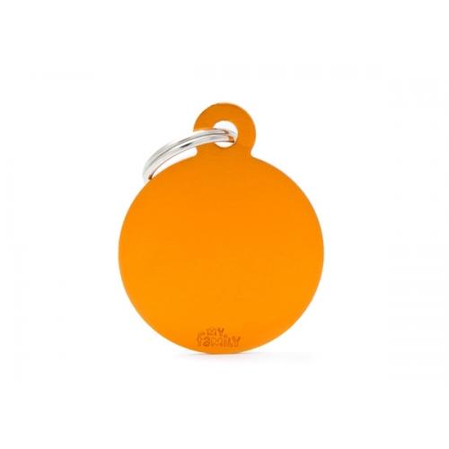 MY FAMILY - Basic Alluminio - Cerchio Grande Arancione - Medaglietta incisibile