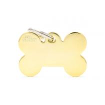 Medagliette per cani My family Osso grande in ottone dorato